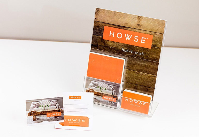 Example of custom gift cards, gift card holders and display stand for Howse Find + Furnish