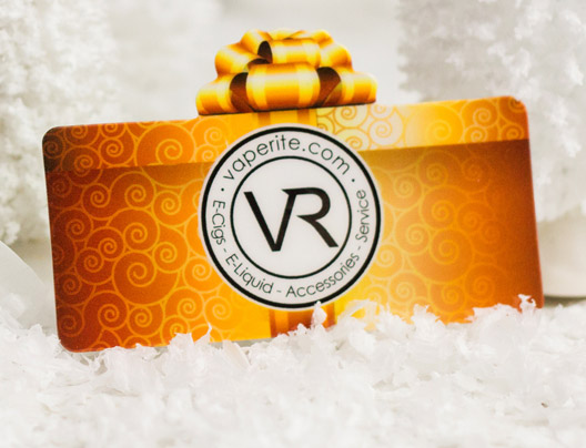 Example of die cut gift cards for Vaperite