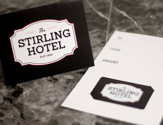 Example of gift card accessories for the Stirling Hotel