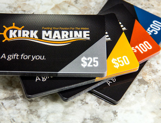 Example of variable data gift cards for Kirk Marine