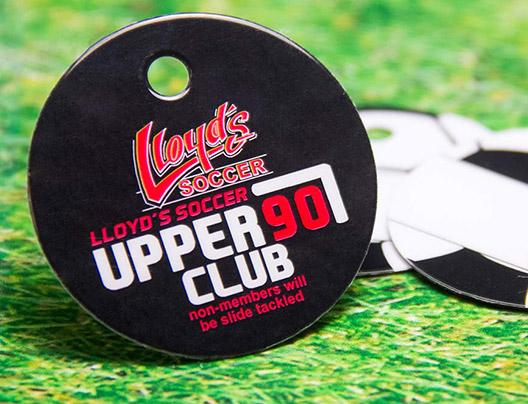 Example of Membership Key Tag Card for Lloyd's Soccer