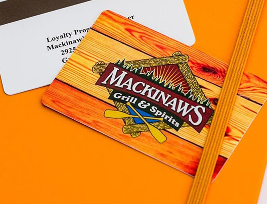 Example of custom loyalty card for Mackinaws Grill