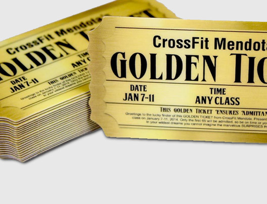 Example of custom shape promo cards designed for crossfit studio