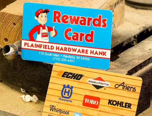 Example of custom rewards card for Plainfield Hardware Hank