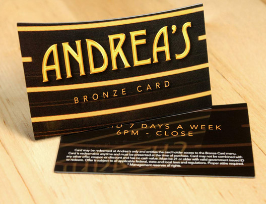Example of Die Cut VIP Card for Andrea's