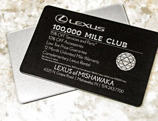 Example of VIP card perks for Lexus of Mishawaka