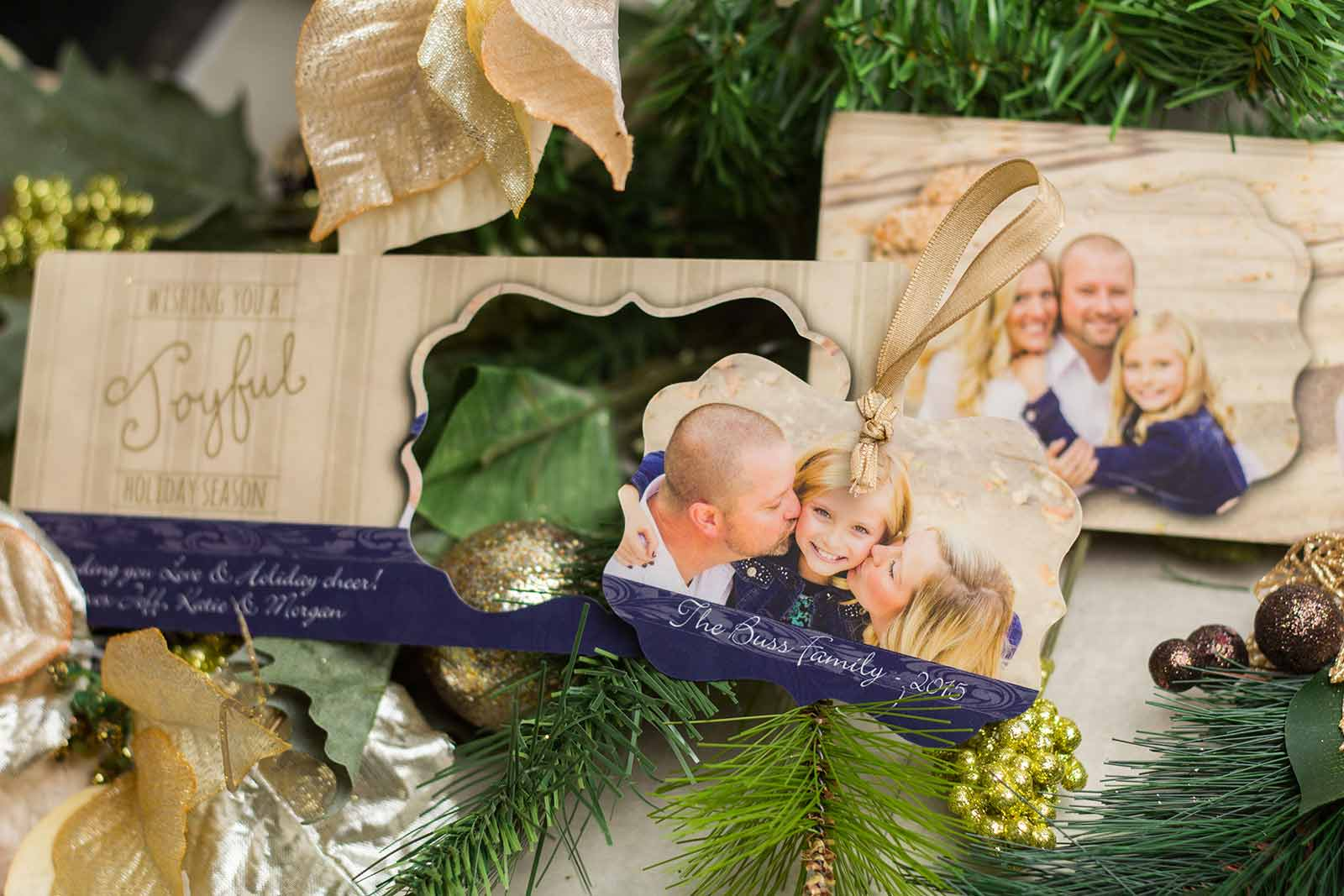Example of Custom Greeting Cards by Plastic Printers, Inc. Photo holiday ornament pop out card.