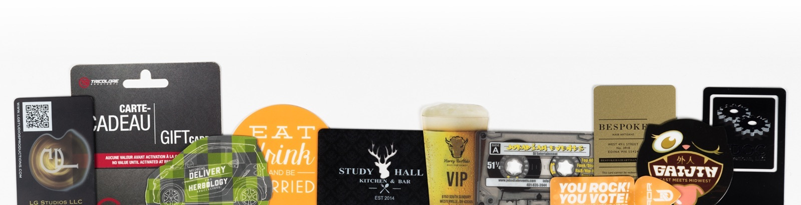 Plastic Printers prints plastic business cards, clear business cards and gift cards—in every shape and size imaginable.