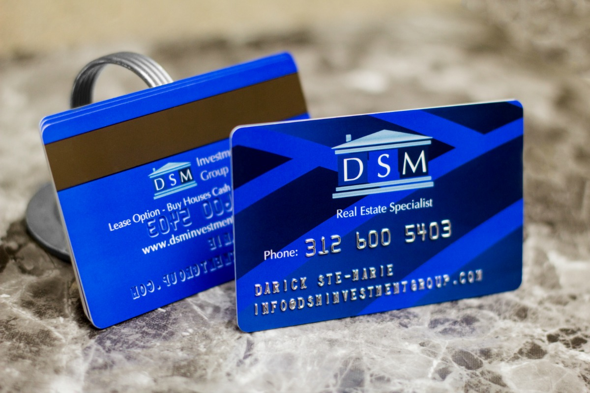 Example of a Custom Embossed Business Card with Magnetic Stripe