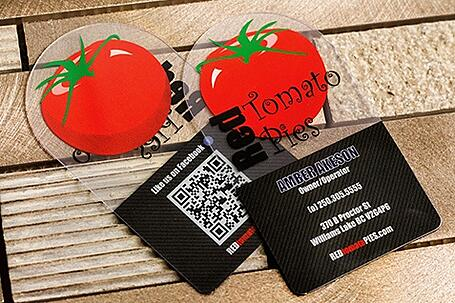 Frosted vs clear business cards which should you choose example of clear business cards for red tomato pies colourmoves