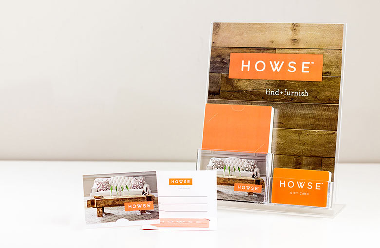 Example of gift card display stand for Howse
