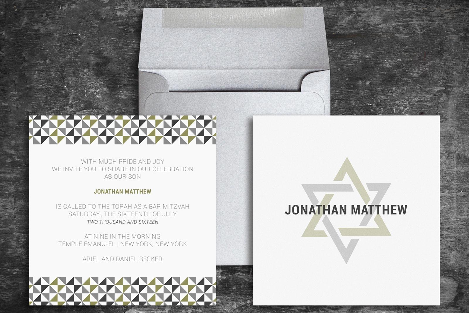 Custom Bar Mitzvah Invitation and Envelope