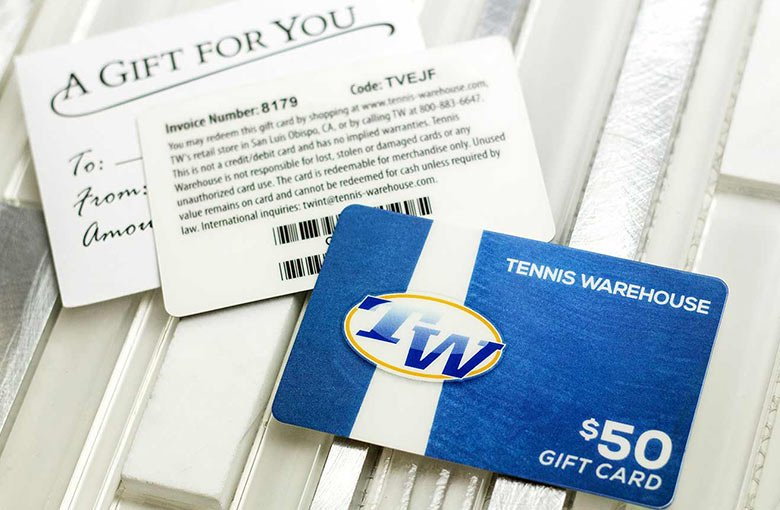 Example of face value gift card for Tennis Warehouse