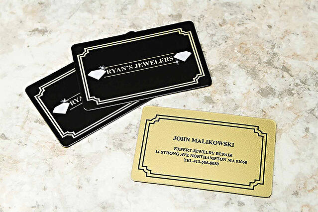 Metallic or metal business cards which should you choose ryans jewelers colourmoves