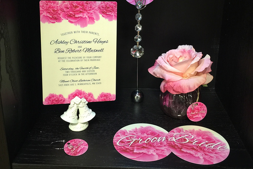Samples of Unique Wedding Favors like Wine Charms and Coasters that match your Wedding Menu, Programs, Table Numbers and Invitations