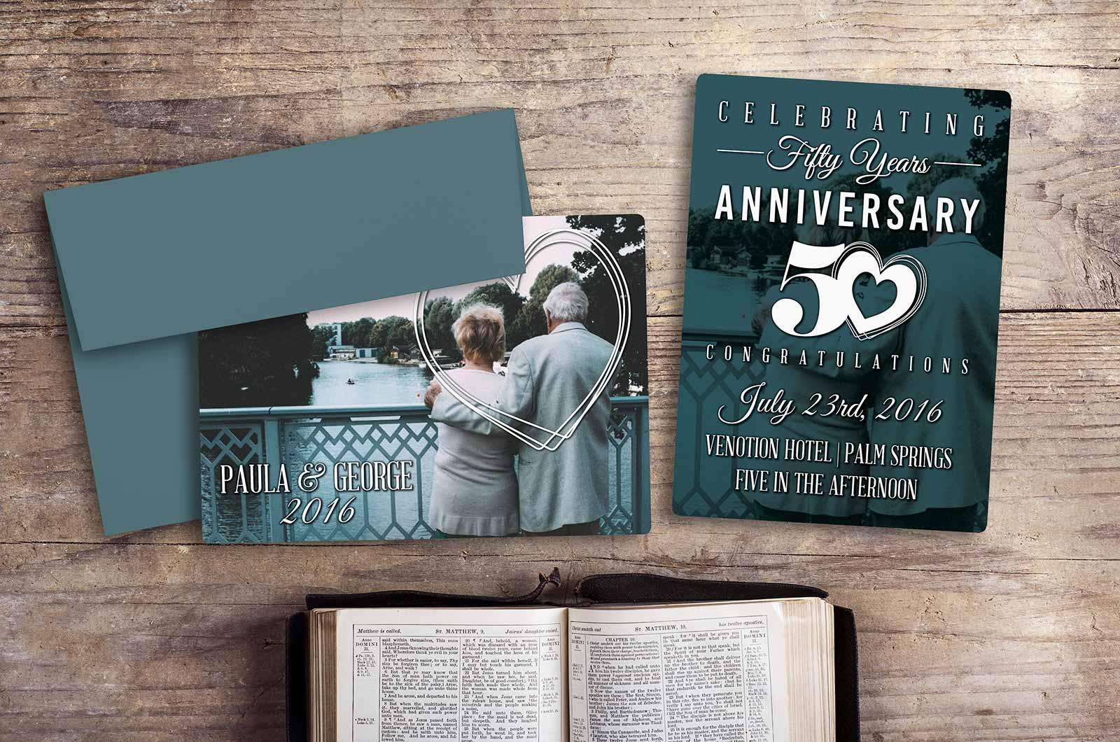 Example of Custom 50th Anniversary Plastic Invitation