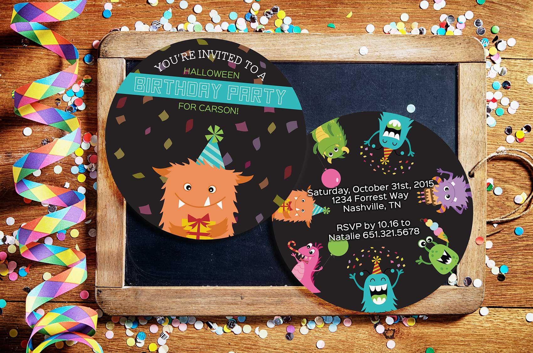 Example of a Custom Shaped Birthday Party Invitation
