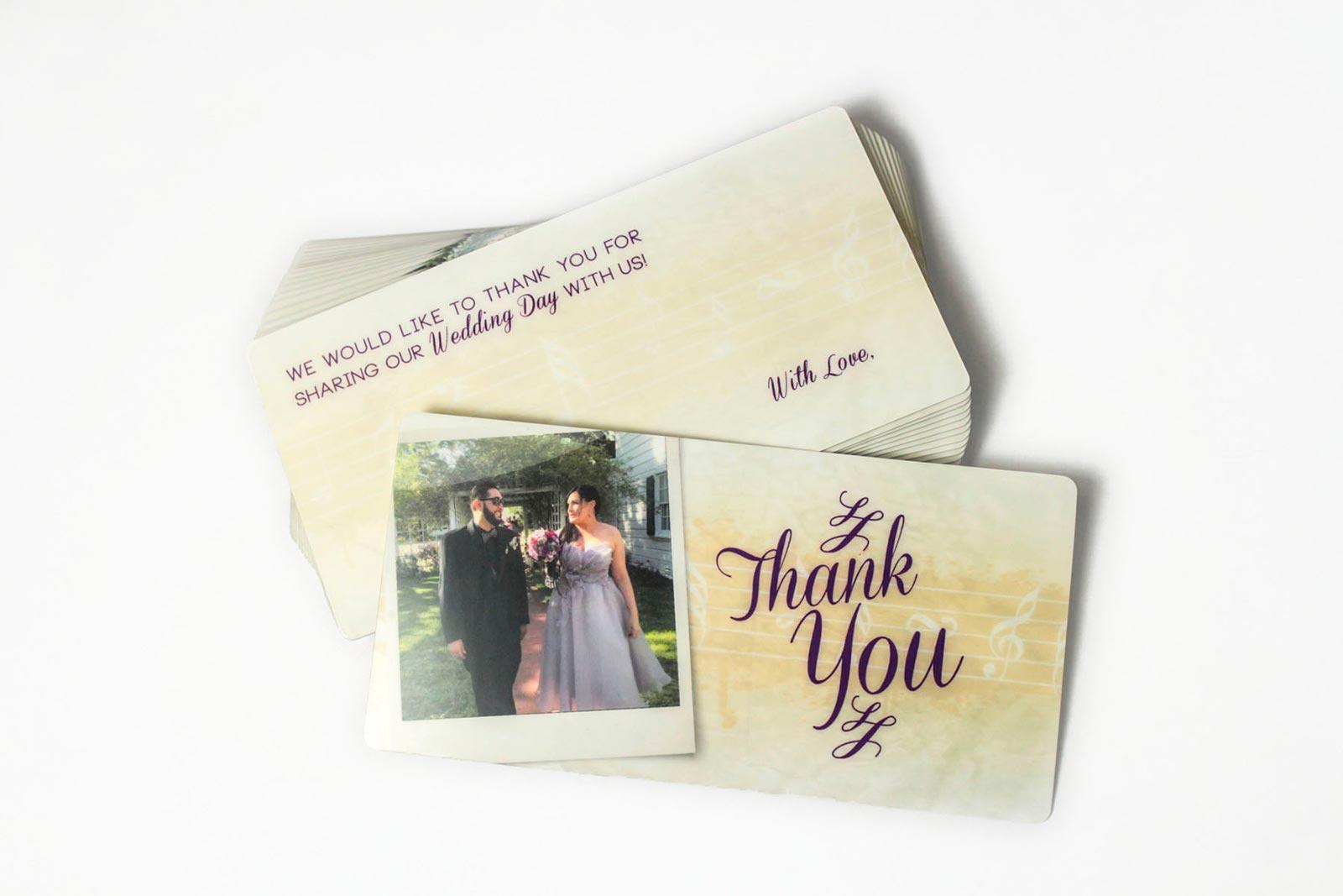 Custom Plastic Wedding Thank You Notes