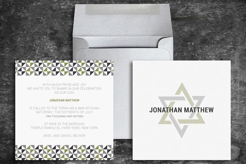 Custom Bar Mitzvah Invitation and Envelope
