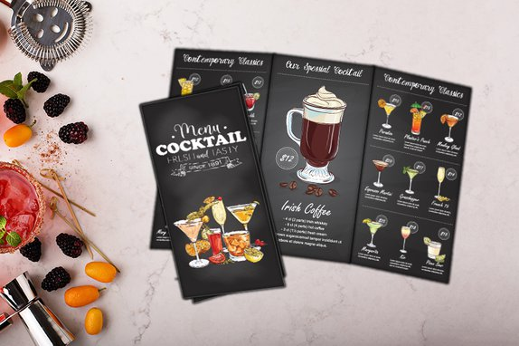 Tri fold Menu for your Cocktails