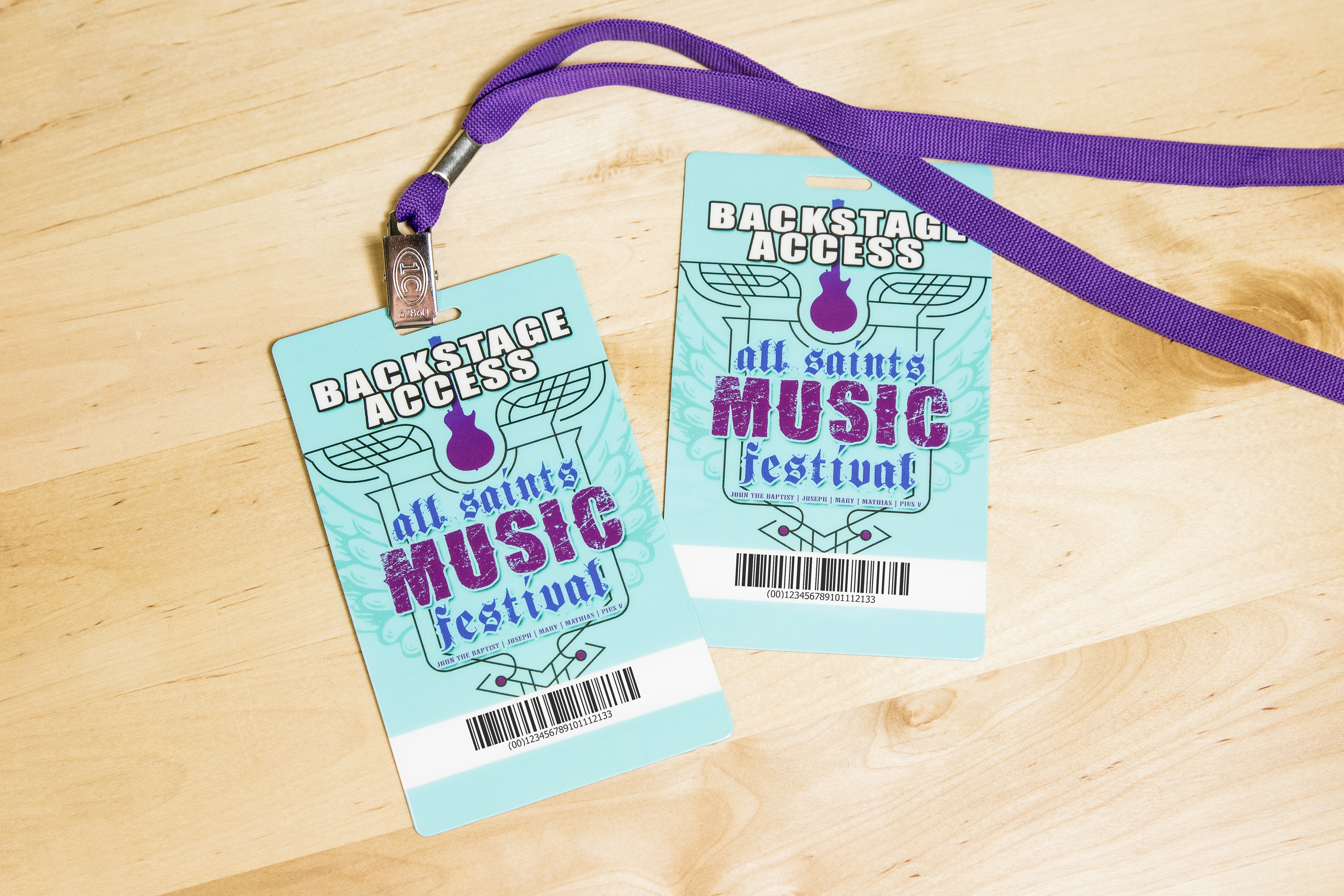 Backstage Pass for All Saints Music Festival with a Barcode
