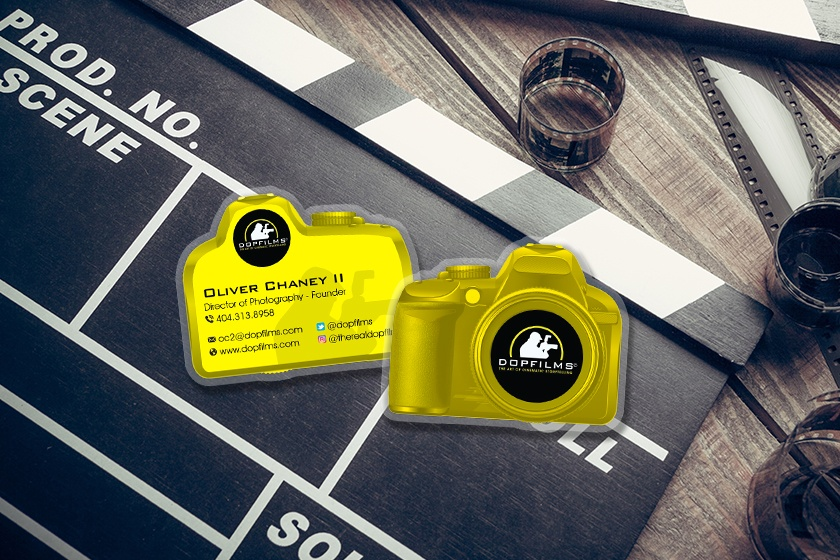Photographer business cards in the shape of a camera