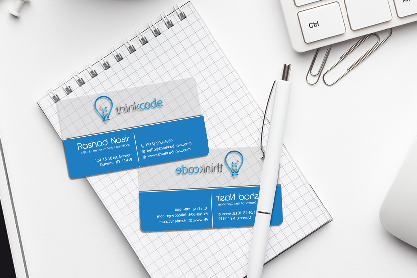 Clear business cards are a great way to stand out at a trade shows or conventions