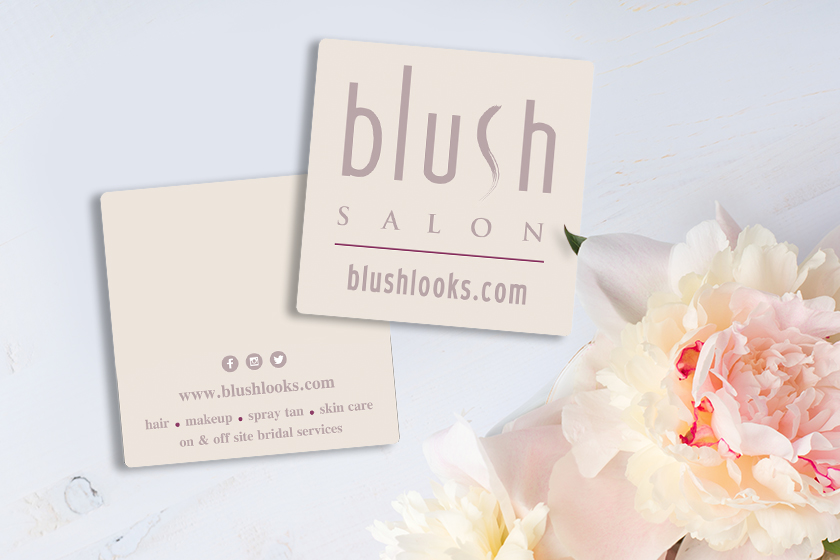 Square Salon Business Cards to market at a Wedding Convention