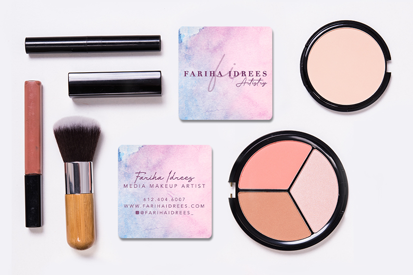 Square business cards for a makeup artist