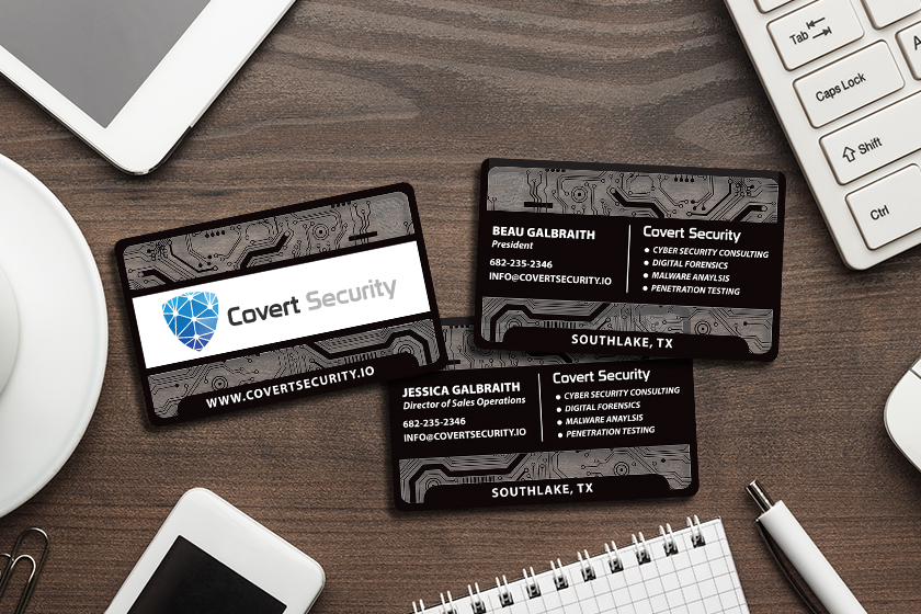 Transparent business cards for technology and security company
