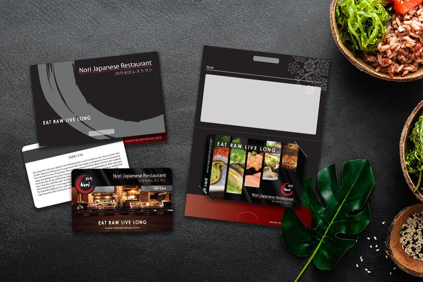 Restaurant gift cards with a mag stripe on the back