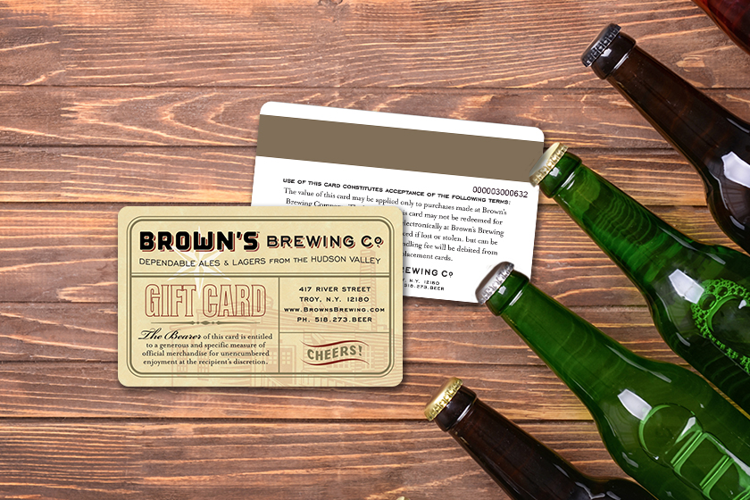 Amazing gift card design for a brewery