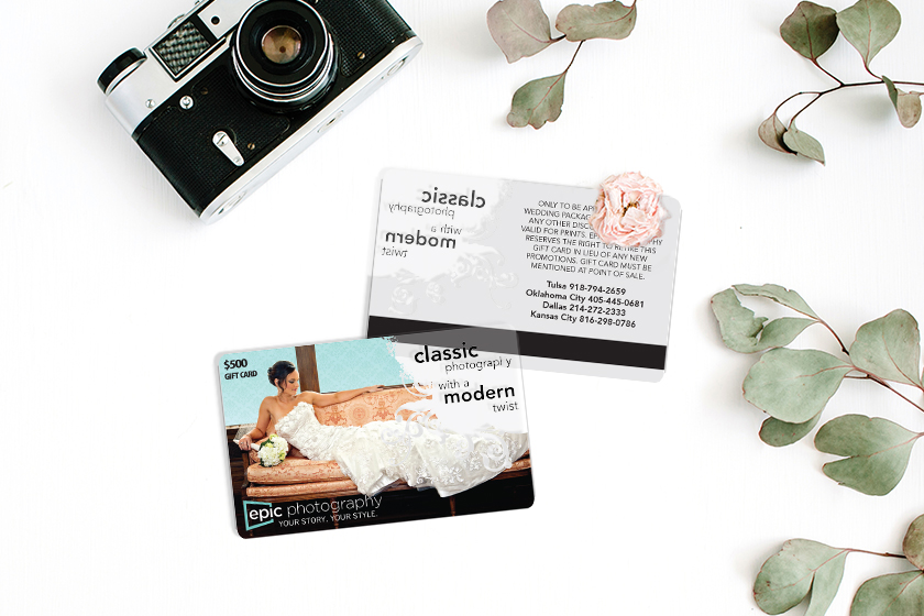Custom gift cards with a clear design