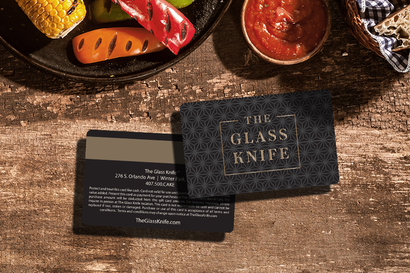 Plastic Gift Cards with Gold Foil and Magnetic Stripe for The Glass Knife Restaurant