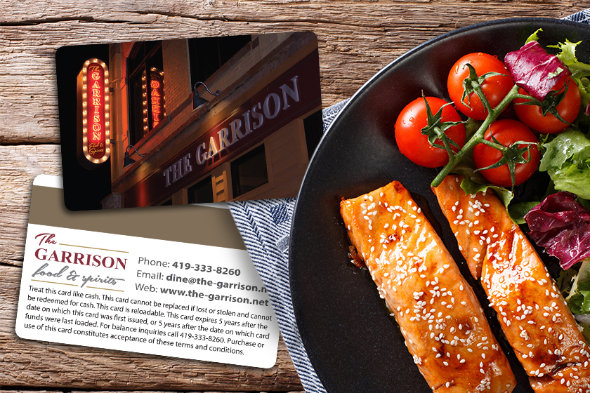 Restaurant gift card with a magnetic stripe on the back