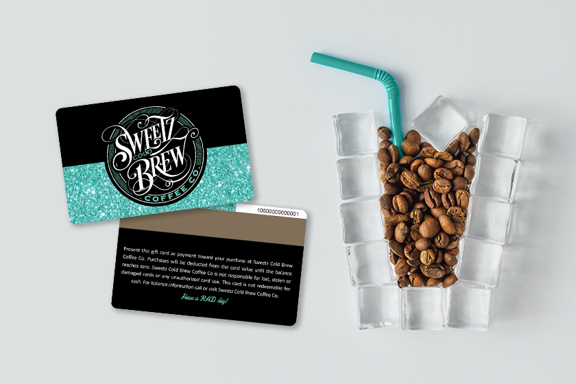 Coffee gift card with magnetic stripe on the back