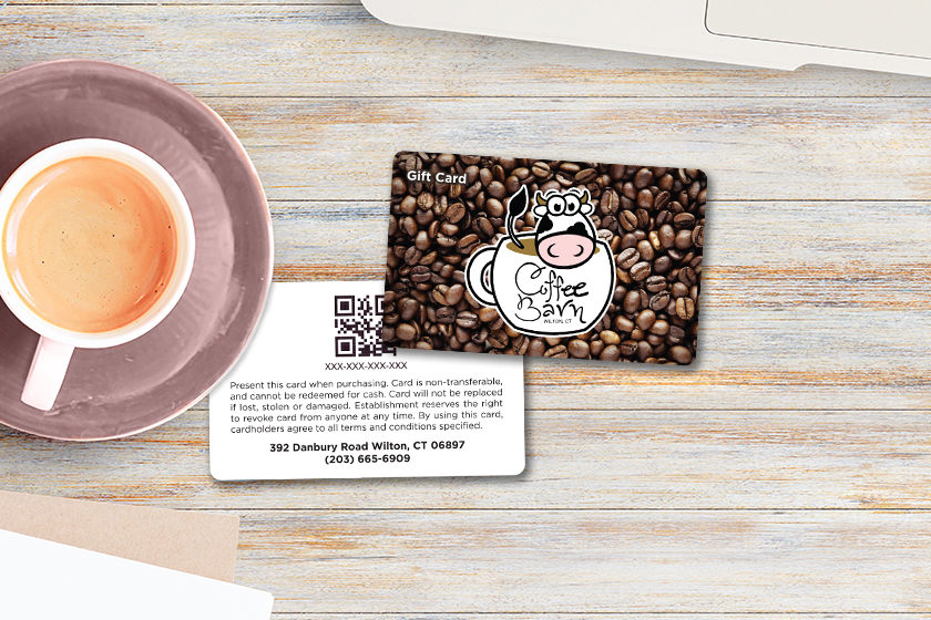 Coffee gift card with QR code on the back