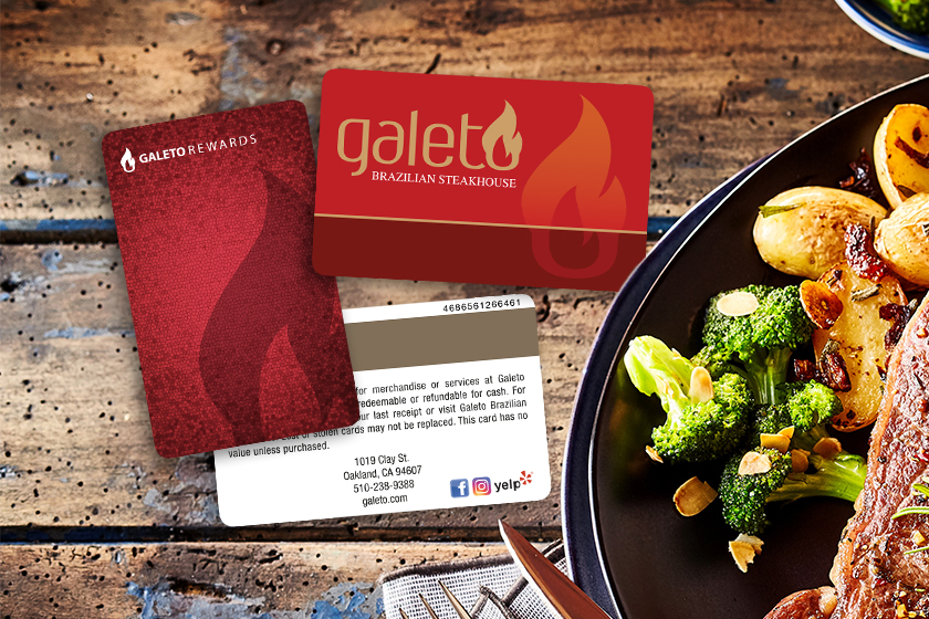 Restaurant gift cards and rewards cards with magnetic stripe.