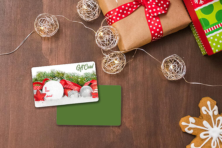 Custom gift cards with a writable ornament