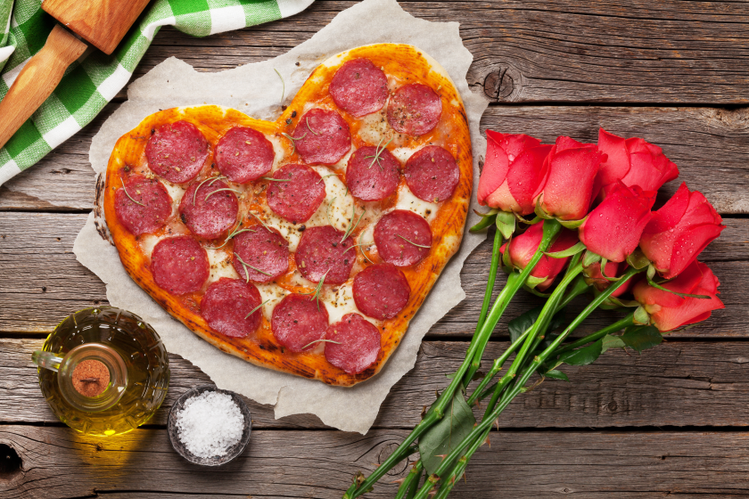 Heart shaped pizza perfect for Valentine's Day