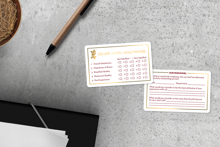 Hotel Comment Card With Writable Areas On Front And Back