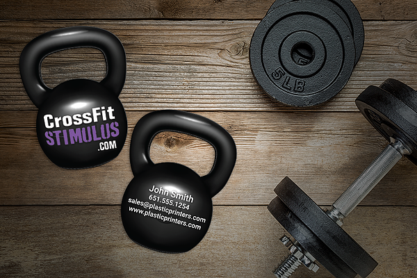 Fitness Business Cards in the Shape of a Kettle Bell