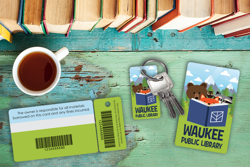 Waukee Public Library Card with a Barcode and Writable Surface