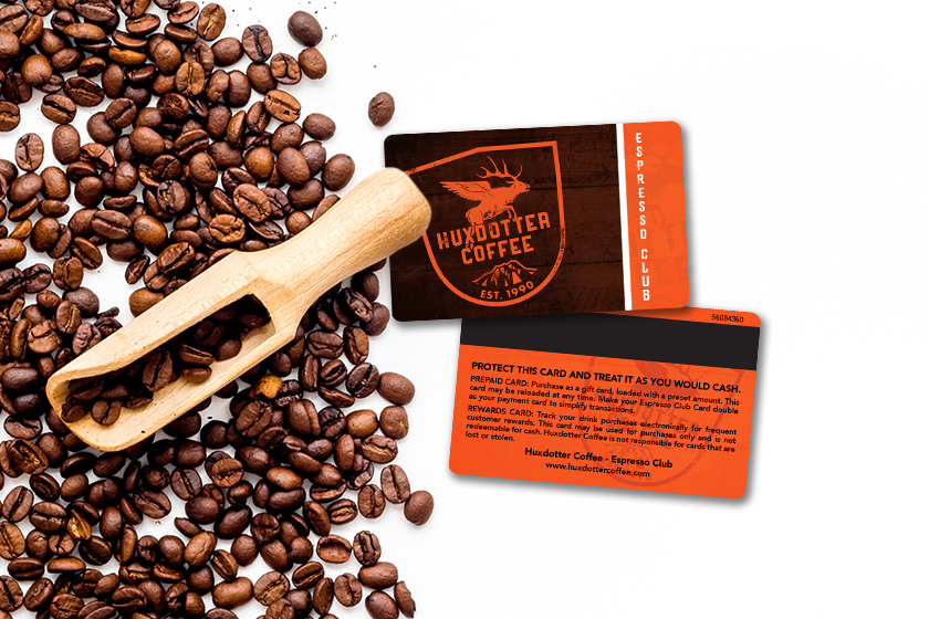 Coffee loyalty cards with magnetic stripe on the back