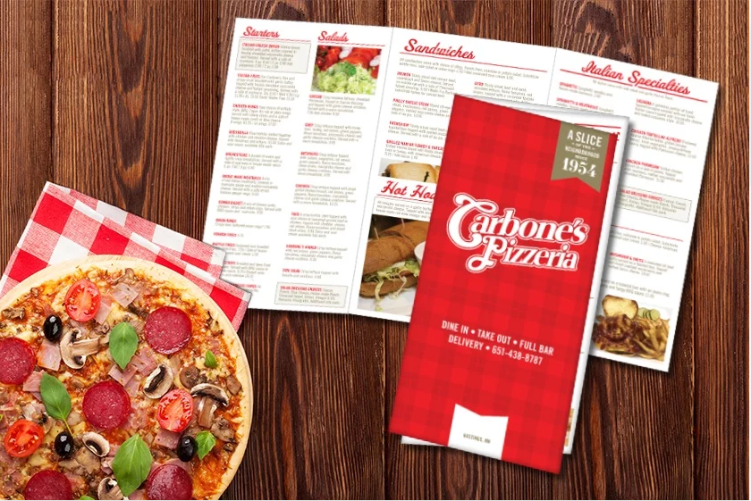 Tri-fold menu for a pizza restaurant