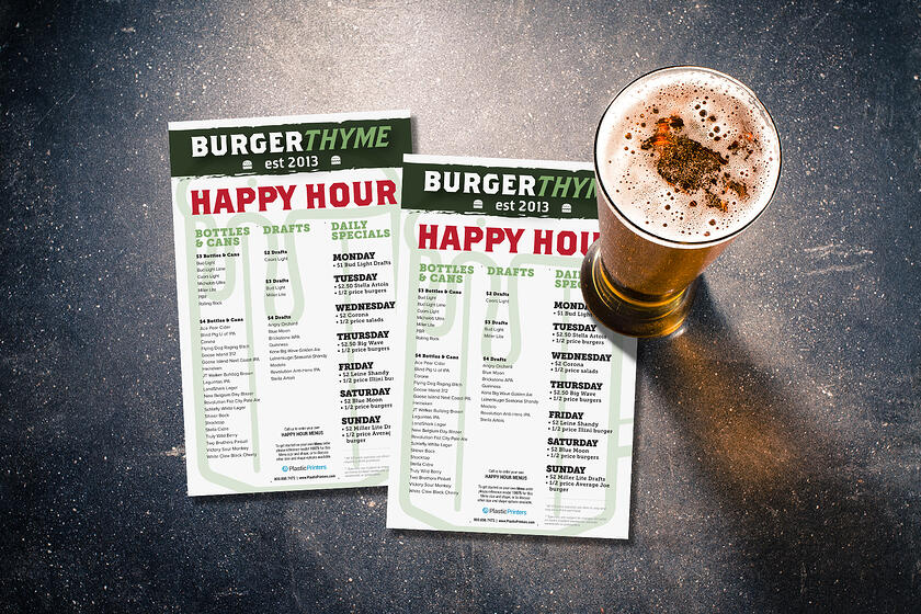 Happy hour menu for a bar and restaurant