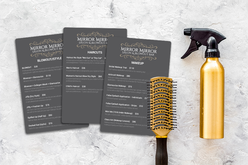 Salon menu for a blowout bar