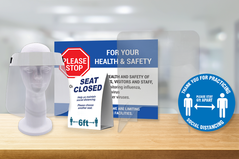 PPE and safety products - face shields, table tents, and more