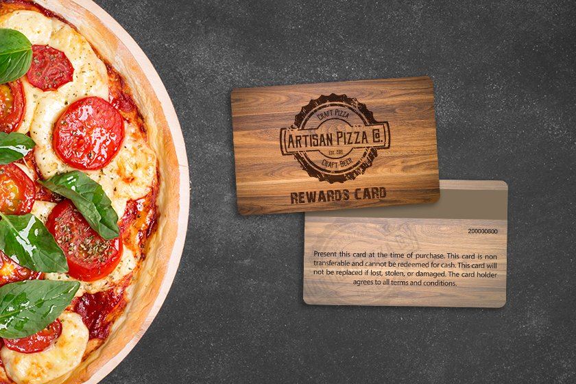 Pizza rewards card with magnetic stripe on back