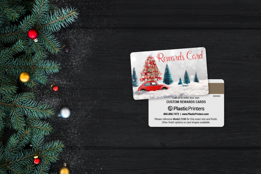 Custom rewards cards with a holiday design